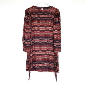Zara Blue Red Zig Zag Fringe Shift Dress